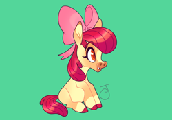 Size: 3000x2100 | Tagged: safe, artist:janegumball, character:apple bloom, species:earth pony, species:pony, g4, apple family member, blank flank, blaze (coat marking), bow, coat markings, colored hooves, colored pupils, eyebrows, eyebrows visible through hair, female, filly, green background, hair bow, hooves, open mouth, profile, signature, simple background, sitting, socks (coat marking), solo, young