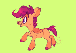 Size: 1280x897 | Tagged: safe, artist:janegumball, character:scootaloo, species:pegasus, species:pony, g4, blank flank, colored hooves, colored pupils, colored wings, eyebrows, female, filly, green background, hooves, multicolored wings, profile, raised hoof, raised leg, signature, simple background, smiling, solo, two toned wings, wings, young
