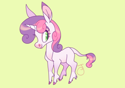 Size: 1280x897 | Tagged: safe, artist:janegumball, character:sweetie belle, species:classical unicorn, species:pony, species:unicorn, g4, blank flank, cloven hooves, coat markings, colored hooves, colored pupils, hooves, leonine tail, looking sideways, profile, signature, simple background, socks (coat marking), solo, tail