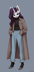 Size: 1200x2509 | Tagged: safe, artist:mrscroup, character:rarity, species:anthro, species:unicorn, clothing, coat, colored eyebrows, ear fluff, gray background, hands in pockets, high heels, jewelry, necklace, pants, shoes, simple background, sweater, turtleneck