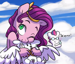 Size: 2772x2391 | Tagged: safe, artist:chub-wub, character:pipp petals, character:zipp storm, species:dog, species:pegasus, species:pony, g5, adorapipp, beaker, cloud, cloudpuff, cute, dialogue, duo, female, goggles, grin, mare, one eye closed, pipp wings, puppy, safety goggles, science, siblings, sisters, sky, smiling, spread wings, unshorn fetlocks, wings, wink