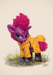 Size: 850x1200 | Tagged: safe, artist:assasinmonkey, character:tempest shadow, species:pony, species:unicorn, angry, ball, boots, broken horn, clothing, cute, female, grass, horn, madorable, mare, mud, raincoat, scar, shoes, signature, toy, younger