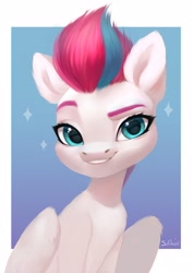 Size: 2894x4093 | Tagged: safe, artist:sofiko-ko, character:zipp storm, species:pegasus, species:pony, g5, looking at you, simple background, smiling, solo
