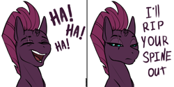 Size: 3000x1500 | Tagged: safe, artist:kirasunnight, character:tempest shadow, species:pony, species:unicorn, g4, 2 panel comic, broken horn, comic, eye scar, eyes closed, female, haha no, horn, laughing, mare, mood whiplash, open mouth, scar, simple background, solo, tempest shadow is not amused, threat, unamused, white background