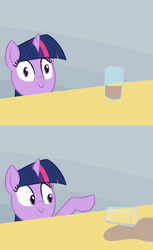 Size: 550x900 | Tagged: safe, artist:furseiseki, character:twilight sparkle, species:pony, species:unicorn, acting like a cat, artifact, chocolate milk, comic, drink, everything is ruined, evil, exploitable meme, it begins, meme, meme origin, milk, pure unfiltered evil, smiling, spill, spilled milk