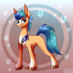 Size: 2048x2048 | Tagged: safe, artist:spirit-fire360, character:hitch trailblazer, species:earth pony, species:pony, g5, abstract background, belt, blaze (coat marking), cute, grin, hitchbetes, male, markings, missing cutie mark, smiling, solo, stallion, unshorn fetlocks