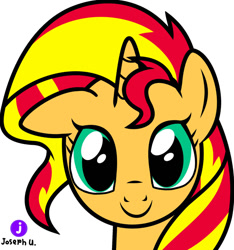 Size: 1280x1366 | Tagged: safe, artist:josephurrutia7, character:sunset shimmer, species:pony, species:unicorn, g4, my little pony:equestria girls, black outlines, bust, floppy ears, looking at you, portrait, signature, simple background, smiling, solo, white background