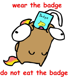 Size: 1046x1144 | Tagged: safe, artist:riddleoflightning, oc, oc only, bean pony, comic sans, convention badge, text, transparent background