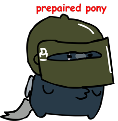 Size: 1146x1171 | Tagged: safe, artist:riddleoflightning, oc, oc only, oc:platinum shadow, species:pegasus, species:pony, artificial wings, augmented, bean pony, comic sans, scar, tachanka, text, transparent background, wings