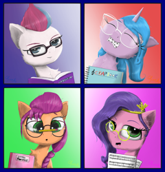 Size: 2200x2290 | Tagged: safe, artist:chopsticks, character:izzy moonbow, character:pipp petals, character:sunny starscout, species:earth pony, species:pegasus, species:pony, species:unicorn, g5, :o, adorapipp, book, braces, chest fluff, cute, ear fluff, eyebrows, eyebrows visible through hair, female, glasses, gradient mane, grin, high res, izzybetes, jewelry, looking at you, mare, open mouth, open smile, pencil, pipp wings, ponies balancing stuff on their nose, regalia, sheet music, shipper on deck, smiling, smiling at you, sunnybetes, text