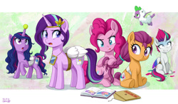 Size: 1200x700 | Tagged: safe, artist:uotapo, character:cloudpuff, character:izzy moonbow, character:pinkie pie, character:pipp petals, character:rarity, character:scootaloo, character:spike, character:starlight glimmer, character:sunny starscout, character:twilight sparkle, character:twilight sparkle (alicorn), character:zipp storm, species:alicorn, species:dog, species:earth pony, species:pegasus, species:pony, species:unicorn, g4, g5, ball, braid, braiding, clothing, cosplay, costume, fake cutie mark, fake wings, featured image, flying pomeranian, generation leap, hair dye, hornball, izzy's tennis ball, mane g5, sweat, sweatdrop, tennis ball, toy, uotapo is trying to murder us, winged spike, wings