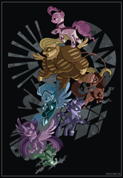 Size: 2000x2892 | Tagged: safe, artist:spacekitty, character:applejack, character:fili-second, character:fluttershy, character:humdrum, character:mistress marevelous, character:pinkie pie, character:radiance, character:rainbow dash, character:rarity, character:saddle rager, character:spike, character:twilight sparkle, character:twilight sparkle (alicorn), character:zapp, species:alicorn, species:dragon, species:earth pony, species:pegasus, species:pony, species:unicorn, episode:power ponies, g4, my little pony: friendship is magic, license:cc-by-nc-nd, clothing, costume, digital art, female, lasso, male, mare, spread wings, vector, wings