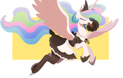 Size: 1200x759 | Tagged: safe, artist:ncmares, character:princess celestia, species:alicorn, species:pony, g4, abstract background, clothing, cute, cutelestia, duster, eyes closed, female, flying, holding, maid, maidlestia, majestic, mare, mouth hold, profile, simple background, skirt, socks, solo, spread wings, stockings, thigh highs, wings