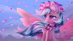 Size: 3500x2000 | Tagged: safe, artist:inowiseei, oc, oc only, oc:summer ray, species:pegasus, species:pony, bell, bust, cherry blossoms, colored pupils, commission, ear fluff, female, floral head wreath, flower, flower blossom, leaves, mare, portrait, solo, spread wings, three quarter view, windswept mane, wings