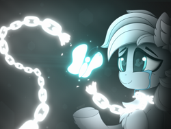 Size: 4000x3000 | Tagged: safe, artist:alexbefest, oc, oc only, species:earth pony, species:pony, blue eyes, bondage, butterfly, chains, cheek fluff, chest fluff, crying, ear fluff, eye reflection, eyebrows, fluffy, heart, hoof fluff, hooves, neon, simple background, smiling, solo, tears of joy