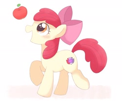 Size: 2048x1707 | Tagged: safe, artist:tstivv, character:apple bloom, species:earth pony, species:pony, g4, adorabloom, apple, apple family member, black outlines, blushing, cute, female, filly, food, raised hoof, simple background, solo, white background, young