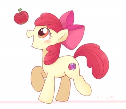 Size: 2048x1766 | Tagged: safe, alternate version, artist:tstivv, character:apple bloom, species:earth pony, species:pony, g4, adorabloom, apple, apple family member, blushing, colored outlines, cute, female, filly, food, raised hoof, simple background, solo, white background, young