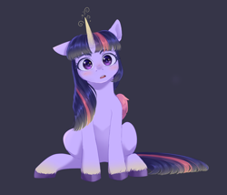 Size: 1960x1680 | Tagged: safe, artist:ghoasthead, character:twilight sparkle, character:twilight sparkle (alicorn), species:alicorn, species:pony, g4, blushing, colored wings, cute, ear down, female, glowing horn, horn, looking at you, magic, mare, one ear down, open mouth, simple background, sitting, solo, style emulation, twiabetes, unshorn fetlocks, wings