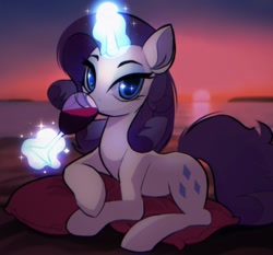 Size: 1200x1120 | Tagged: safe, artist:draw__3, character:rarity, species:pony, species:unicorn, g4, alcohol, beach, beautiful, drink, lying down, magic, magic aura, outdoors, pillow, solo, sunset, wine