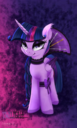 Size: 1800x3000 | Tagged: safe, artist:darksly, character:twilight sparkle, character:twilight sparkle (alicorn), species:alicorn, species:pony, g4, abstract background, clothing, colored hooves, colored wings, ear fluff, evil, eyeshadow, fangs, female, high res, hooves, lidded eyes, looking at you, makeup, mare, multicolored wings, sharp teeth, slit eyes, smiling, solo, wings