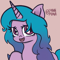 Size: 2048x2048 | Tagged: safe, artist:lynnpone, character:izzy moonbow, species:pony, species:unicorn, g5, black outlines, curly hair, cute, gradient mane, looking at you, multicolored mane, open mouth, raised hoof, signature, simple background, solo
