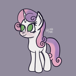 Size: 2048x2048 | Tagged: safe, artist:lynnpone, character:apple bloom, character:scootaloo, character:sweetie belle, species:pony, species:unicorn, g4, cutie mark crusaders, female, gray background, no pupils, signature, simple background, smiling, solo, three quarter view