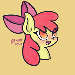Size: 2048x2048 | Tagged: safe, artist:lynnpone, character:apple bloom, character:scootaloo, character:sweetie belle, species:earth pony, species:pony, g4, apple bloom's bow, apple family member, black outlines, blushing, bow, bust, cutie mark crusaders, eye clipping through hair, hair bow, no pupils, open mouth, open smile, signature, simple background, smiling, solo, three quarter view