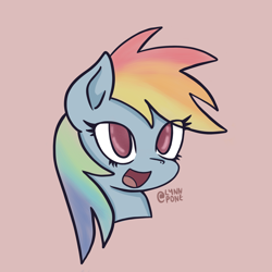 Size: 2048x2048 | Tagged: safe, artist:lynnpone, character:rainbow dash, species:pegasus, species:pony, g4, black outlines, bust, cute, digital art, looking at you, no pupils, open mouth, open smile, rainbow, signature, simple background, smiling, solo