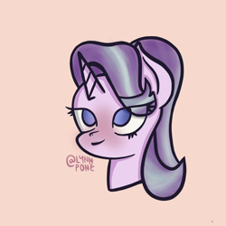 Size: 2048x2048 | Tagged: safe, artist:lynnpone, character:starlight glimmer, species:pony, species:unicorn, g4, black outlines, blushing, bust, cute, eye clipping through hair, glimmerbetes, no pupils, signature, simple background, solo