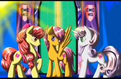 Size: 4950x3240 | Tagged: safe, artist:fairysearch, character:apple bloom, character:scootaloo, character:sweetie belle, species:earth pony, species:pegasus, species:pony, species:unicorn, episode:crusaders of the lost mark, g4, my little pony: friendship is magic, alternate hairstyle, apple family member, cutie mark, cutie mark crusaders, female, mare, older, older apple bloom, older scootaloo, older sweetie belle, profile, spread wings, the cmc's cutie marks, three quarter view, twilight's castle, wings