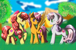 Size: 4950x3240 | Tagged: safe, alternate version, artist:fairysearch, character:apple bloom, character:scootaloo, character:sweetie belle, species:earth pony, species:pegasus, species:pony, species:unicorn, episode:crusaders of the lost mark, g4, my little pony: friendship is magic, alternate hairstyle, apple family member, backwards cutie mark, cloud, cutie mark, cutie mark crusaders, female, grass, mare, older, older apple bloom, older scootaloo, older sweetie belle, profile, sky, spread wings, the cmc's cutie marks, three quarter view, tree, wings