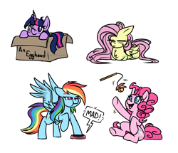 Size: 2555x2200   Tagged: safe, artist:greenmaneheart, character:fluttershy, character:pinkie pie, character:rainbow dash, character:twilight sparkle, species:earth pony, species:pegasus, species:pony, g4, behaving like a cat, box, button, chibi, lying down, pony in a box, ponyloaf, prone, simple background, transparent background