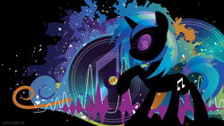 Size: 3840x2160   Tagged: safe, artist:spacekitty, character:dj pon-3, character:vinyl scratch, species:pony, species:unicorn, g4, license:cc-by-nc-nd, abstract background, black background, cutie mark, digital art, record, silhouette, simple background, solo, vector, vinyl's glasses