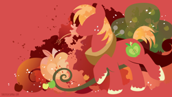 Size: 3840x2160   Tagged: safe, artist:spacekitty, character:big mcintosh, species:earth pony, species:pony, g4, license:cc-by-nc-nd, abstract background, apple family member, big macintosh's yoke, cutie mark, digital art, male, red background, silhouette, simple background, solo, stallion, vector