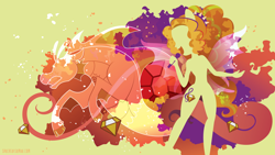 Size: 3840x2160   Tagged: safe, artist:spacekitty, character:adagio dazzle, species:eqg human, species:siren, equestria girls:rainbow rocks, g4, my little pony: equestria girls, my little pony:equestria girls, license:cc-by-nc-nd, abstract background, cutie mark, digital art, female, microphone, open mouth, ponied up, silhouette, simple background, singing, solo, vector, yellow background
