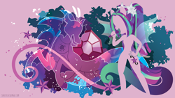 Size: 3840x2160   Tagged: safe, artist:spacekitty, character:aria blaze, species:eqg human, species:siren, equestria girls:rainbow rocks, g4, my little pony: equestria girls, my little pony:equestria girls, license:cc-by-nc-nd, abstract background, cutie mark, digital art, female, microphone, open mouth, silhouette, singing, solo, vector