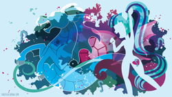 Size: 3840x2160   Tagged: safe, artist:spacekitty, character:sonata dusk, species:eqg human, species:siren, equestria girls:rainbow rocks, g4, my little pony: equestria girls, license:cc-by-nc-nd, abstract background, cutie mark, digital art, female, microphone, open mouth, ponytail, silhouette, singing, solo, vector