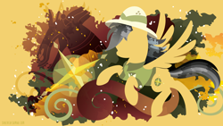 Size: 3840x2160   Tagged: safe, artist:spacekitty, character:daring do, species:pegasus, species:pony, g4, license:cc-by-nc-nd, abstract background, clothing, cutie mark, digital art, female, hat, mare, pith helmet, shirt, silhouette, solo, spread wings, vector, wings