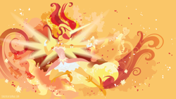 Size: 3840x2160   Tagged: safe, artist:spacekitty, character:daydream shimmer, character:sunset shimmer, species:eqg human, equestria girls:friendship games, g4, my little pony: equestria girls, my little pony:equestria girls, license:cc-by-nc-nd, abstract background, boots, clothing, digital art, dress, female, magic, shoes, silhouette, solo, vector