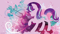 Size: 3840x2160   Tagged: safe, artist:spacekitty, character:starlight glimmer, species:pony, species:unicorn, g4, license:cc-by-nc-nd, abstract background, cutie mark, digital art, female, horn, mare, s5 starlight, silhouette, solo, vector