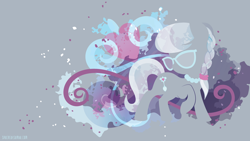 Size: 3840x2160   Tagged: safe, artist:spacekitty, character:silver spoon, species:earth pony, species:pony, g4, license:cc-by-nc-nd, abstract background, braid, cutie mark, digital art, female, filly, glasses, gray background, jewelry, necklace, pearl necklace, silhouette, simple background, solo, vector, young