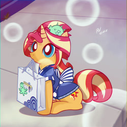 Size: 1280x1280 | Tagged: safe, artist:branewashpv, character:sunset shimmer, species:pony, species:unicorn, g4, my little pony:equestria girls, bag, chromatic aberration, clothing, cute, featured image, female, holding, mouth hold, ponified, shimmerbetes, solo, species swap, sunset sushi