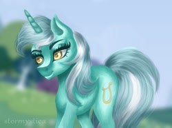 Size: 1288x962 | Tagged: safe, artist:stormystica, character:lyra heartstrings, species:pony, species:unicorn, g4, digital art, digital painting, eyebrows, female, mare, medibang paint, my little pony, ponyville, solo, three quarter view