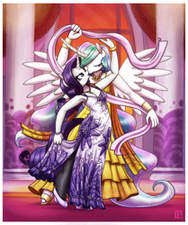 Size: 2400x2865 | Tagged: safe, artist:king-kakapo, character:princess celestia, character:rarity, species:alicorn, species:anthro, species:pony, species:unguligrade anthro, species:unicorn, ship:rarilestia, g4, clothing, commission, dress, duo, duo female, ethereal mane, eyes closed, eyeshadow, female, females only, high heels, horn, jewelry, kissing, makeup, mare, necklace, pantyhose, questionable source, ribbon, shoes, spread wings, sunset, window, wings