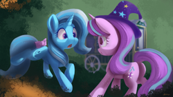 Size: 4038x2271 | Tagged: safe, artist:auroriia, character:starlight glimmer, character:trixie, species:pony, species:unicorn, g4, bow, clothing, cute, cutie mark, duo, duo female, female, females only, glimmerbetes, hat, horn, looking at each other, mare, open mouth, tail bow, trixie's hat, trixie's wagon, wagon, wizard hat