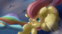 Size: 4038x2271 | Tagged: safe, artist:auroriia, character:fluttershy, character:rainbow dash, species:pegasus, species:pony, episode:hurricane fluttershy, g4, my little pony: friendship is magic, cutie mark, determined, duo, duo female, female, females only, flying, goggles, mare, tail, wings