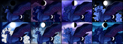 Size: 6030x2203 | Tagged: safe, artist:lysitheawo, character:princess luna, species:alicorn, species:pony, g4, absurd resolution, alternate design, alternate hairstyle, colored wings, female, high res, mare, moon, multicolored wings, night, night sky, profile, sky, sparkly wings, spread wings, starry sky, tail feathers, wings