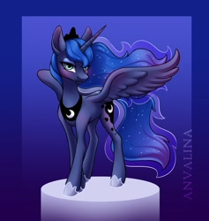 Size: 1138x1200 | Tagged: safe, artist:anvalina, character:princess luna, species:alicorn, species:pony, g4, blushing, ethereal mane, gradient background, solo