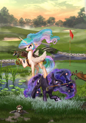 Size: 1800x2588 | Tagged: safe, artist:harwick, character:princess celestia, character:princess luna, species:alicorn, species:pony, g4, angry, commission, fanfic art, female, golf, golf ball, holding, mole, mouth hold, playing, royal sisters, siblings, sisters, sports