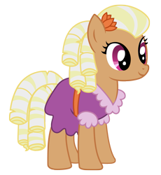 Size: 943x1024 | Tagged: safe, artist:three uncle, character:prairie belle, species:earth pony, species:pony, episode:buckball season, g4, my little pony: friendship is magic, background pony, clothing, digital art, dress, female, flower, flower in hair, mare, simple background, smiling, solo, transparent background, vector